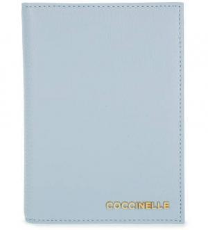 Голубая обложка для паспорта из натуральной кожи Coccinelle. Цвет: голубой