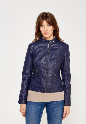 Куртка кожаная B.Style. Цвет: синий