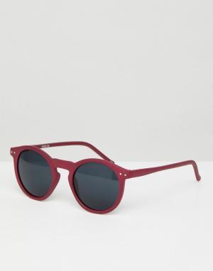 ASOS Круглые солнцезащитные очки в матовой розовой оправе с дымчатыми стекл. Цвет: розовый