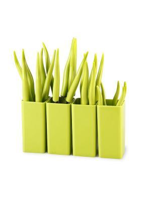 Столовые приборы CHILI 24 предмета MOULINvilla. Цвет: зеленый