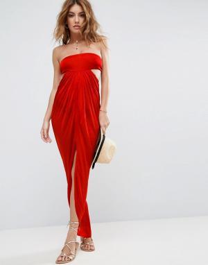 ASOS Пляжное платье макси бандо. Цвет: красный