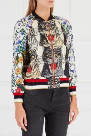 Шелковый бомбер Gucci. Цвет: multicolor