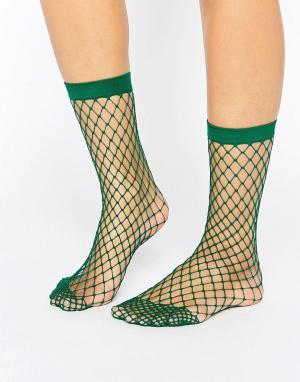 ASOS Зеленые носки в крупную сетку. Цвет: зеленый