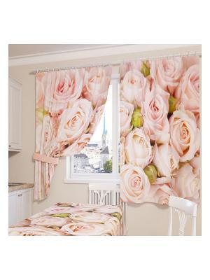 Фотошторы Молодые розы Сирень. Цвет: розовый