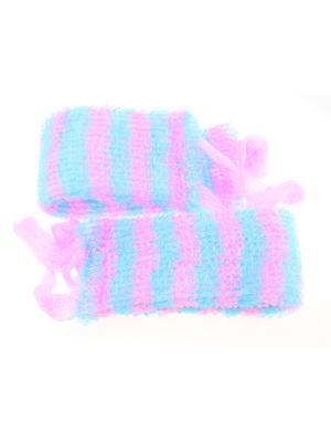 Мочалка для тела узкая, набор из 2-х шт. Радужки. Цвет: голубой, розовый