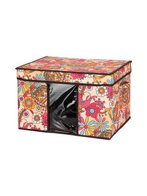 Кофр складной для хранения Яркие цветочные узоры EL CASA. Цвет: бежевый, красный, оранжевый, розовый, зеленый