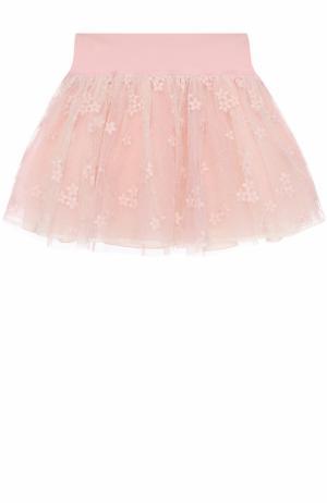 Мини-юбка с вышивкой и широким поясом I Pinco Pallino. Цвет: розовый