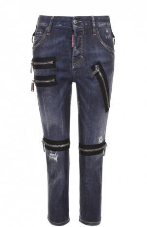 Укороченные джинсы с потертостями и декоративной отделкой Dsquared2. Цвет: синий