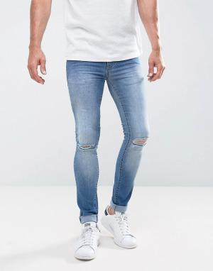 Loyalty & Faith Светлые джинсы скинни с рваной отделкой and Siret. Цвет: синий