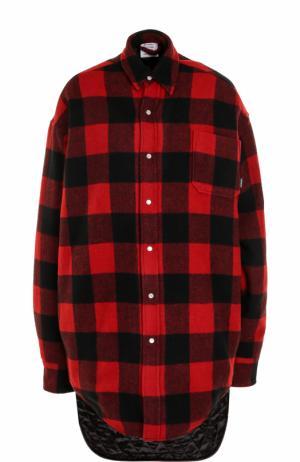 Блуза в клетку с удлиненной спинкой Vetements. Цвет: красный