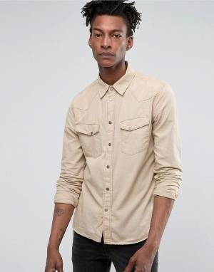 Nudie Jeans Рубашка с длинными рукавами и карманами на пуговицах Co Jo. Цвет: зеленый