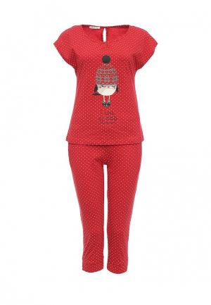 Пижама oodji. Цвет: красный
