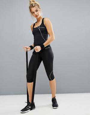 Elle Sport Спортивные капри с широким поясом. Цвет: черный