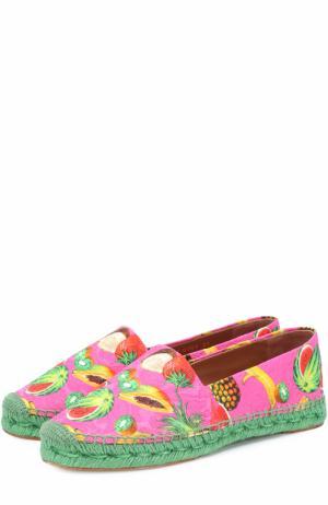 Текстильные эспадрильи с принтом Dolce & Gabbana. Цвет: розовый