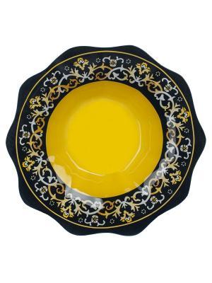 Салатник Восточный мотив 26 см Elff Ceramics. Цвет: желтый, черный