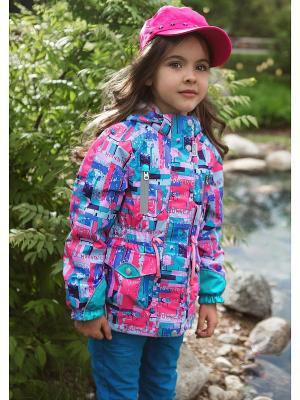 Куртка Oldos. Цвет: розовый, бирюзовый