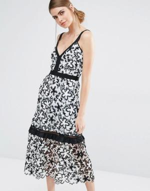 Self Portrait Кружевное платье миди с цветочным принтом. Цвет: белый