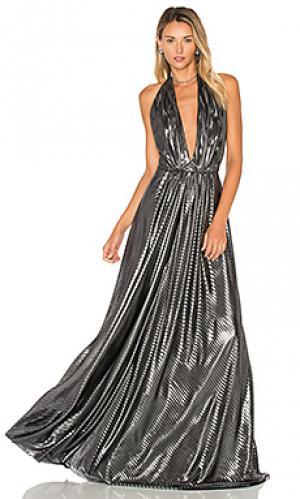Вечернее платье с глубоким v-образным вырезом JILL STUART. Цвет: металлический серебряный