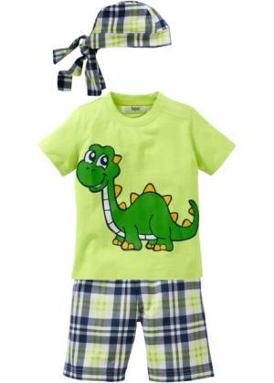 Футболка + шорты бандана (3 изд.) (нежно-зеленый с рисунком динозавра) bonprix. Цвет: нежно-зеленый с рисунком динозавра
