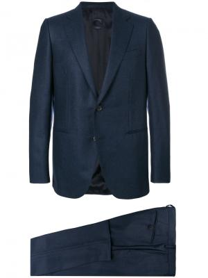 Строгий костюм Caruso. Цвет: синий