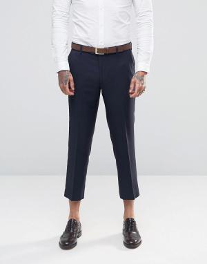 Farah Укороченные фланелевые брюки суперузкого кроя. Цвет: темно-синий