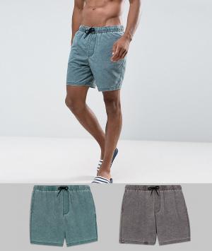 ASOS Комплект из 2 пар шорт для плавания средщней длины (коричневые/зеленые. Цвет: мульти