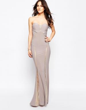 Forever Unique Платье макси с вырезом сердечком и вставками Bianca. Цвет: бежевый