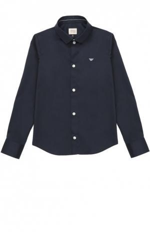 Хлопковая рубашка с воротником кент Giorgio Armani. Цвет: синий