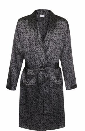 Шелковый халат с поясом Zimmerli. Цвет: серый
