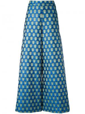 Широкие брюки с принтом лягушек Ultràchic. Цвет: синий