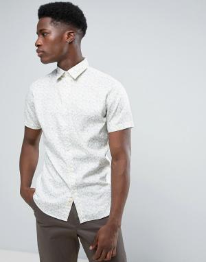 Selected Homme Узкая рубашка с короткими рукавами и сплошным принтом. Цвет: кремовый