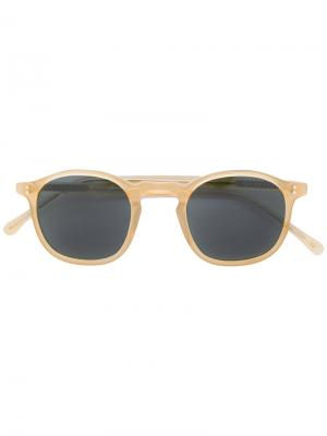 Солнцезащитные очки с круглой оправой Lesca. Цвет: жёлтый и оранжевый