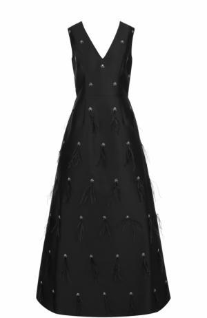 Приталенное платье-макси с V-образным вырезом St. John. Цвет: черный