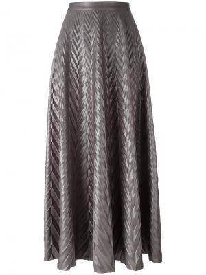 Плиссированная юбка с узором-елочкой Golden Goose Deluxe Brand. Цвет: серый