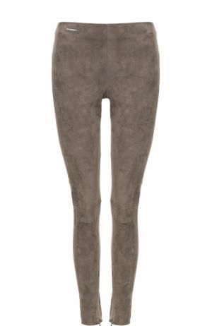 Замшевые брюки-скинни Polo Ralph Lauren. Цвет: серый