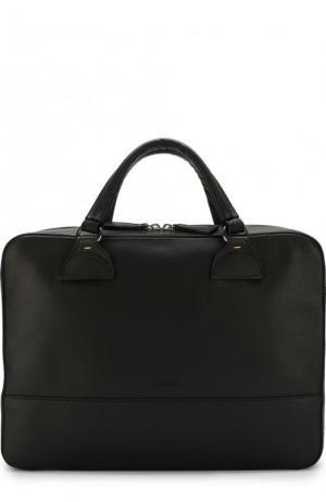 Кожаная сумка для ноутбука с плечевым ремнем Doucals Doucal's. Цвет: черный