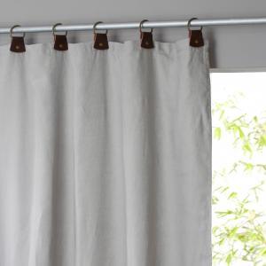 Штора из льна на подкладке с кожаными шлевками, Private AM.PM.. Цвет: серый жемчужный