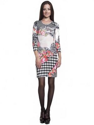 Платье FRENCH HINT. Цвет: антрацитовый, молочный, розовый