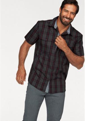 Рубашка с короткими рукавами MANS WORLD MAN'S. Цвет: черный/красный в клетку