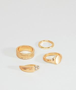 ASOS Комплект золотистых колец в винтажном стиле DESIGN. Цвет: золотой