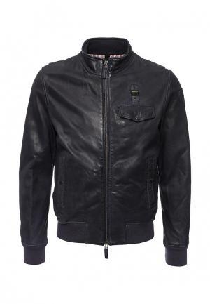 Куртка кожаная Blauer. Цвет: синий
