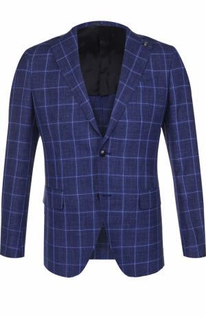 Однобортный пиджак из смеси шерсти и шелка со льном Sartoria Latorre. Цвет: синий