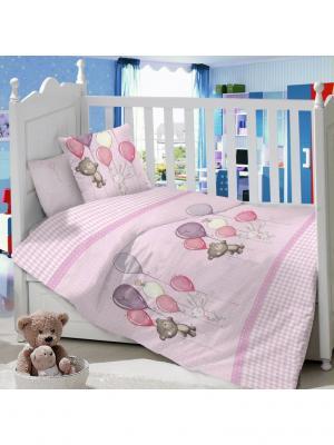 Комплект Постельного Белья В Кроватку Из Сатина (Простыня На Резинке) Ивбэби. Цвет: бледно-розовый, розовый