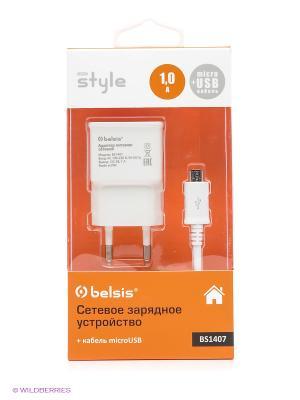 Сетевое зарядное устройство 1 USB, A, дата-кабель microUSB, белый Belsis. Цвет: белый
