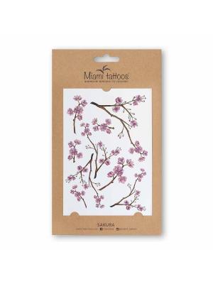 Акварельные переводные тату Miami Tattoos Sakura. Цвет: антрацитовый, бледно-розовый, коричневый, кремовый, розовый, сиреневый