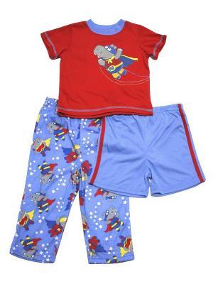 Комплект домашний для мальчика из 3-х предметов Супер Хиппо Little Me. Цвет: голубой, красный
