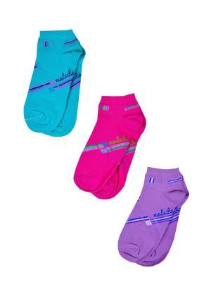 Носки женские,комплект 3шт Malerba. Цвет: салатовый, розовый, сиреневый