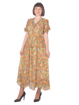 Блузка Томилочка Мода ТМ. Цвет: зеленый, оранжевый