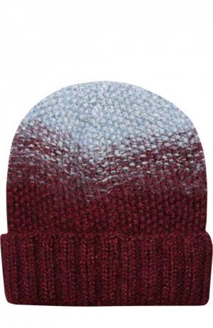 Двухцветная вязаная шапка Asha Eugenia Kim. Цвет: бордовый