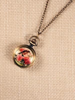 Кулон-часы Птица в розах Mitya Veselkov. Цвет: бронзовый